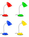 Set of multicolored desk lamps Royalty Free Stock Photo