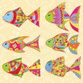 Set of multicolored fish eps vector illustration Royalty Free Stock Image