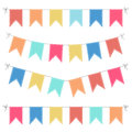 Set of multicolored flat buntings garlands
