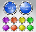 Set of multicolored glasses round buttons Stock Images