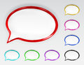 Set of multicolored glossy speech bubbles with glare and shadows Stock Photos