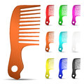 Set of multicolored hairbrushes on white background Stock Photography