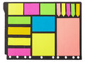 Set of multicolored paper sticky stickers on black Stock Photography