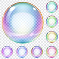 Set of multicolored soap bubbles transparent on a plaid background Stock Photos