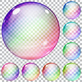 Set of multicolored transparent glass spheres Royalty Free Stock Photo