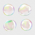 Set of multicolored transparent soap bubbles Royalty Free Stock Photo