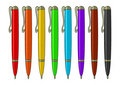 Set of multicoloured pens Stock Photos