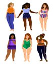 stock image of  Set of multiracial plus size women models with different types o