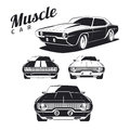 Set of muscle car icons and emblems on white background.