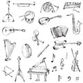 Set of music instruments hand drawn in Stock Images