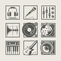 Set of music instruments icons for disco party Royalty Free Stock Photo