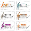 Set of music logos for cards or icons six assorted musical slogans designs Stock Image