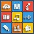 Set of 9 music web and mobile icons. Vector. Royalty Free Stock Photo