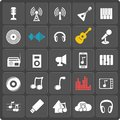 Set of 25 music web and mobile icons. Vector. Royalty Free Stock Photo