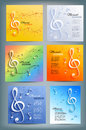 Set of musical banners with musical key and notes Royalty Free Stock Photo