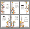 Set of musical illustration concept. Art music poster book brochure element. Vector decorative greeting card or