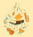 Set of musical instruments classical in vintage hand draw style Royalty Free Stock Images