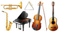 Set of musical instruments illustration the on a white background Royalty Free Stock Image