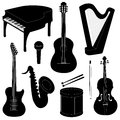 Set of musical instruments silhouettes isolated on white Royalty Free Stock Image