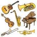 Set of musical instruments vintage Stock Photography