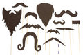 Set of mustache and beard silhouettes for party Stock Photography