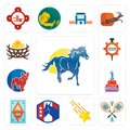 Set of mustang mascot, badminton, shooting stars, democratic party, ap, 1st birthday, french bulldog, spare parts, bird nest icons Royalty Free Stock Photo
