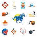 Set of mustang mascot, cannon, insurance, spare parts, french bulldog, digger, burrito, under construction, antelope icons Royalty Free Stock Photo