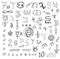 Set with mystic symbols and numbers Royalty Free Stock Photo