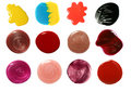 Set of nail polish and lip gloss samples Stock Images