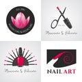 Set of nails salon, nails art vector logo, icon, symbol, emblem Royalty Free Stock Photo