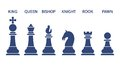 Set of named chess piece icons in blue silhouettes on white showing the king queen rook bishop knight and pawn Royalty Free Stock Photos