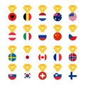 Set national flags of the world isolated on white background. Medal with the flag - vector illustration Royalty Free Stock Photo