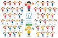Set of 52 national sport team fans from European countries Vector Illustration