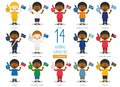 Set of 14 national sport team fans from Oceanic countries Vector Illustration