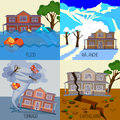 Set of natural disasters banners tornado, earthquake, avalanche, flood