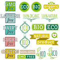 Set of natural organic product labels and emblems vector Royalty Free Stock Photography