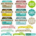 Set of natural organic product labels and emblems vector Stock Photography