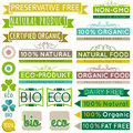 Set of natural organic product labels and emblems vector Royalty Free Stock Photo