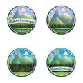 Set of nature emblem of mountain landscape with river and coniferous forest isolated on white background.