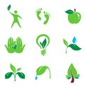 Set of nature and organic  icons Royalty Free Stock Photos
