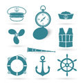 Set of nautic symbols vector illustration Royalty Free Stock Photos
