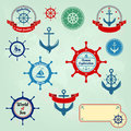 Set of nautical badges and labels logo Stock Photo