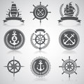 Set of nautical emblems, Royalty Free Stock Photo