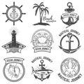 Set of nautical emblems  on white background. Design ele Royalty Free Stock Photo