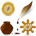 Set of  the nautical icons Stock Photos