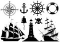 Set of Nautical Icons Royalty Free Stock Photography
