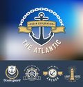 Set of nautical Logo Template Royalty Free Stock Photo