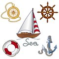 Set of nautical objekts ina cartoon style Royalty Free Stock Image