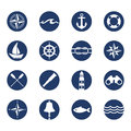 Set of nautical sea ocean sailing icons Royalty Free Stock Photo