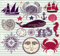 Set of nautical and sea symbols Royalty Free Stock Image